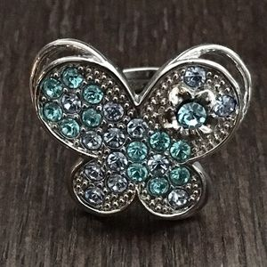 Jewelry - NWOT Cute Blue Crystal Butterfly Ring - Adjustable